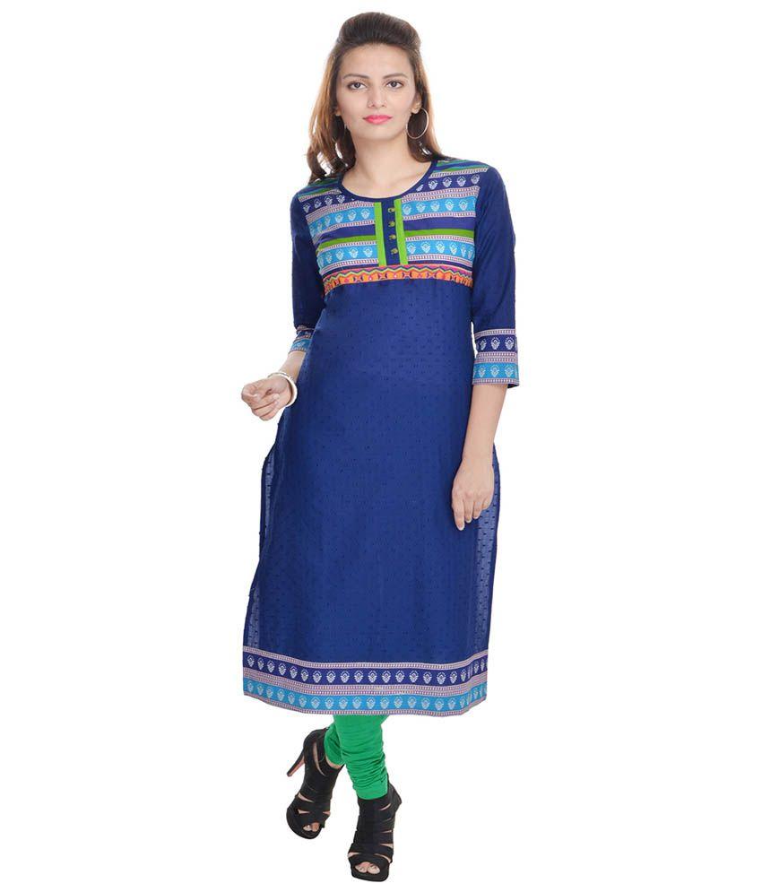 Sangas Blue Cotton Embroidered 3|4th Sleeve Kurti