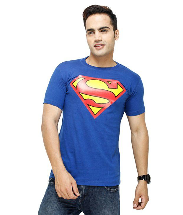 Unique For Men Blue Cotton Blend Printed Half Sleeve Round Neck T-Shirt