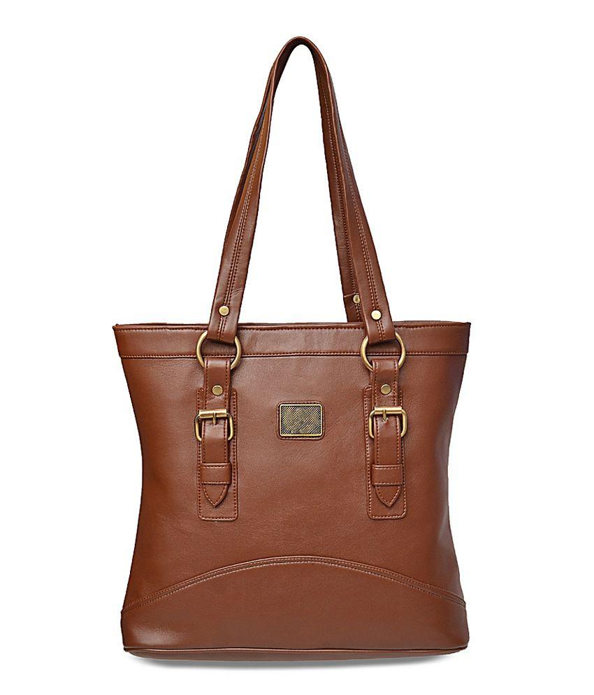 Arshia Brown Pu Leather Shoulder Bag