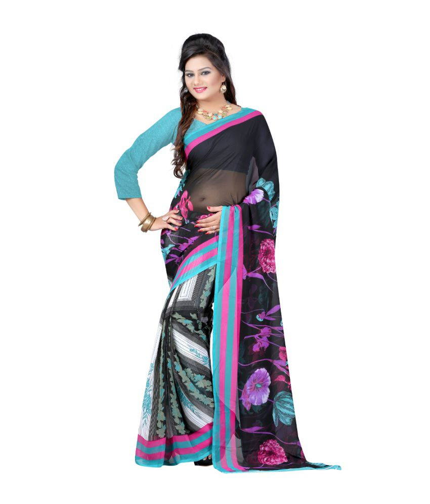 Bunny Sarees Turquoise Faux Georgette Printed Saree