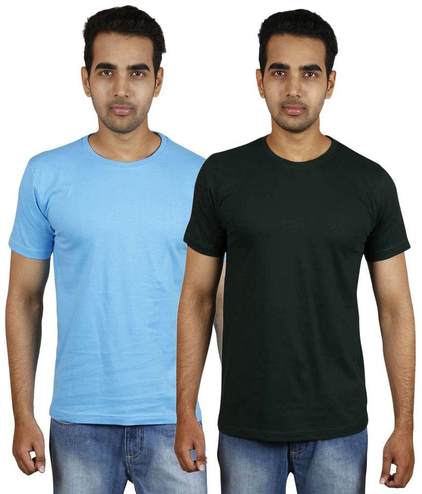 Meedo Combo of Blue & Black Round Neck T-Shirts