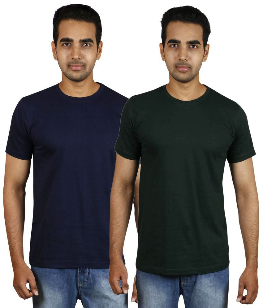 Meedo Combo of Navy & Black Round Neck T-Shirts