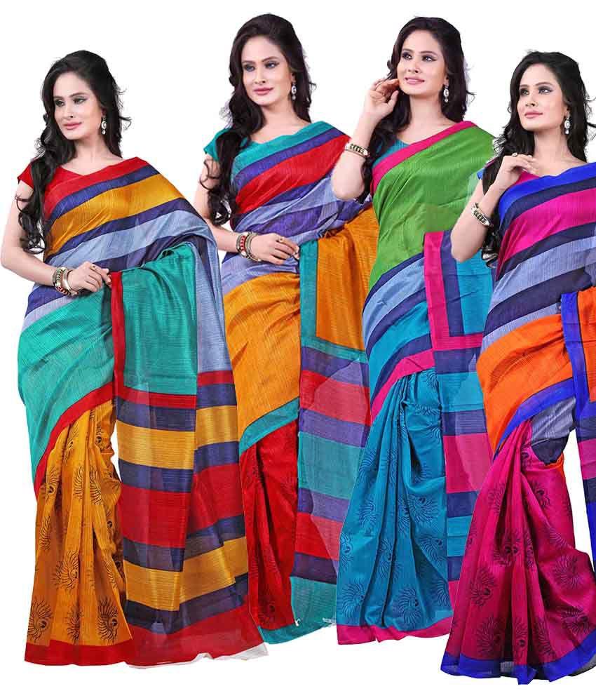 Raj Silk Multi Color Chhapa Silk Cotton Saree Combo - Pack of 4