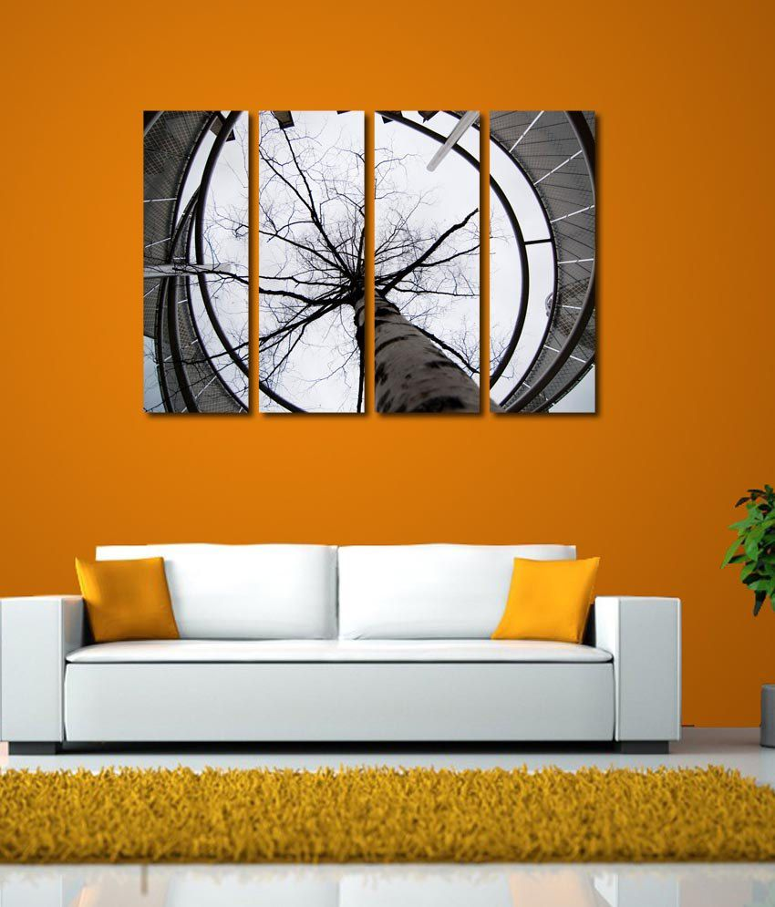 999store Glossy Printed Tree Like Modern Wall Art Painting With Frame - 4 Frames