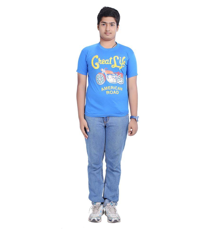D'Rik Blue Cotton T Shirt