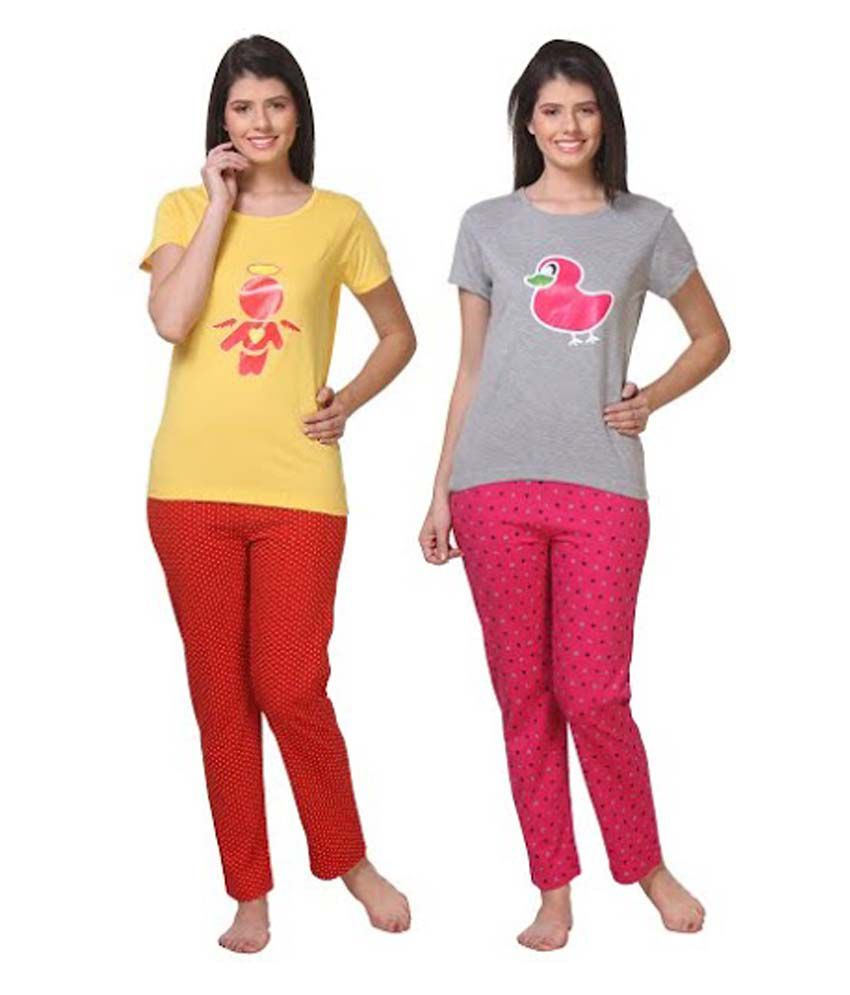 Wako Multi Color Cotton Nightsuit Sets Pack of 2