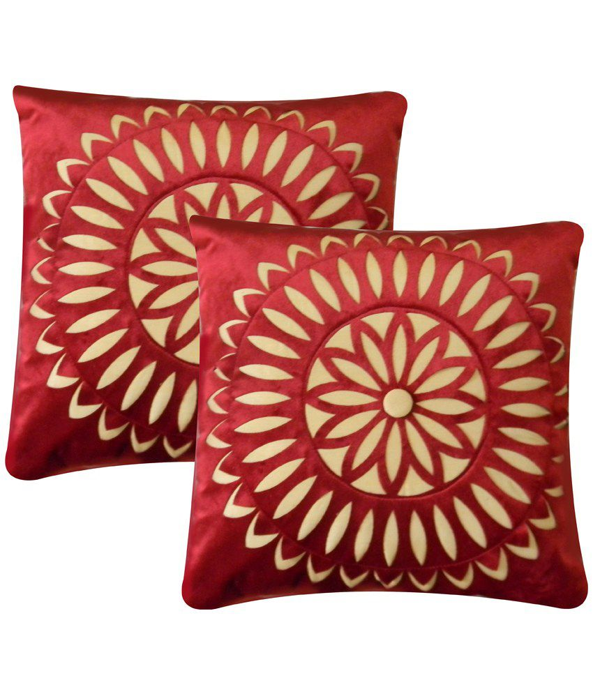 William Red Set of 2 Cut Work Cushion Covers