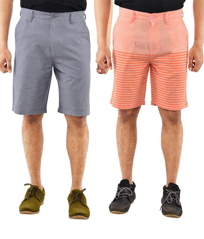 Blue Wave Chic Pack Of 2 Blue & Orange Shorts