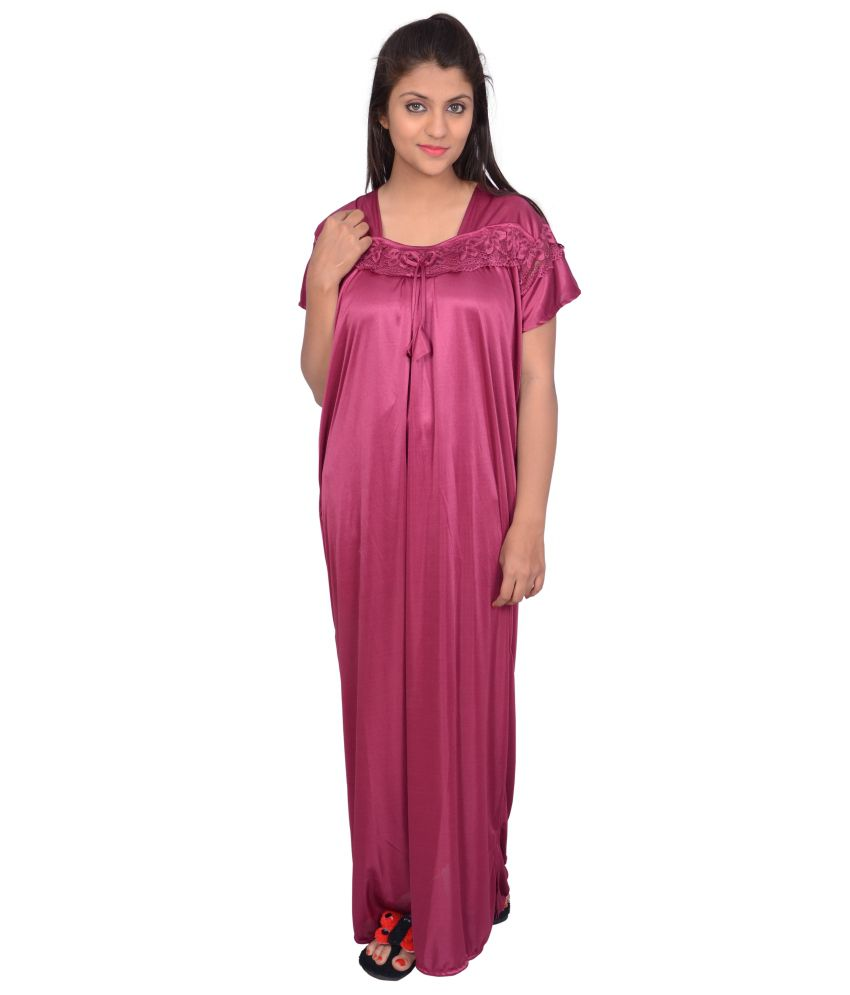 11e8c56846 Buy Grafion Purple Satin Long Nighty Online at Best Prices in India -  Snapdeal