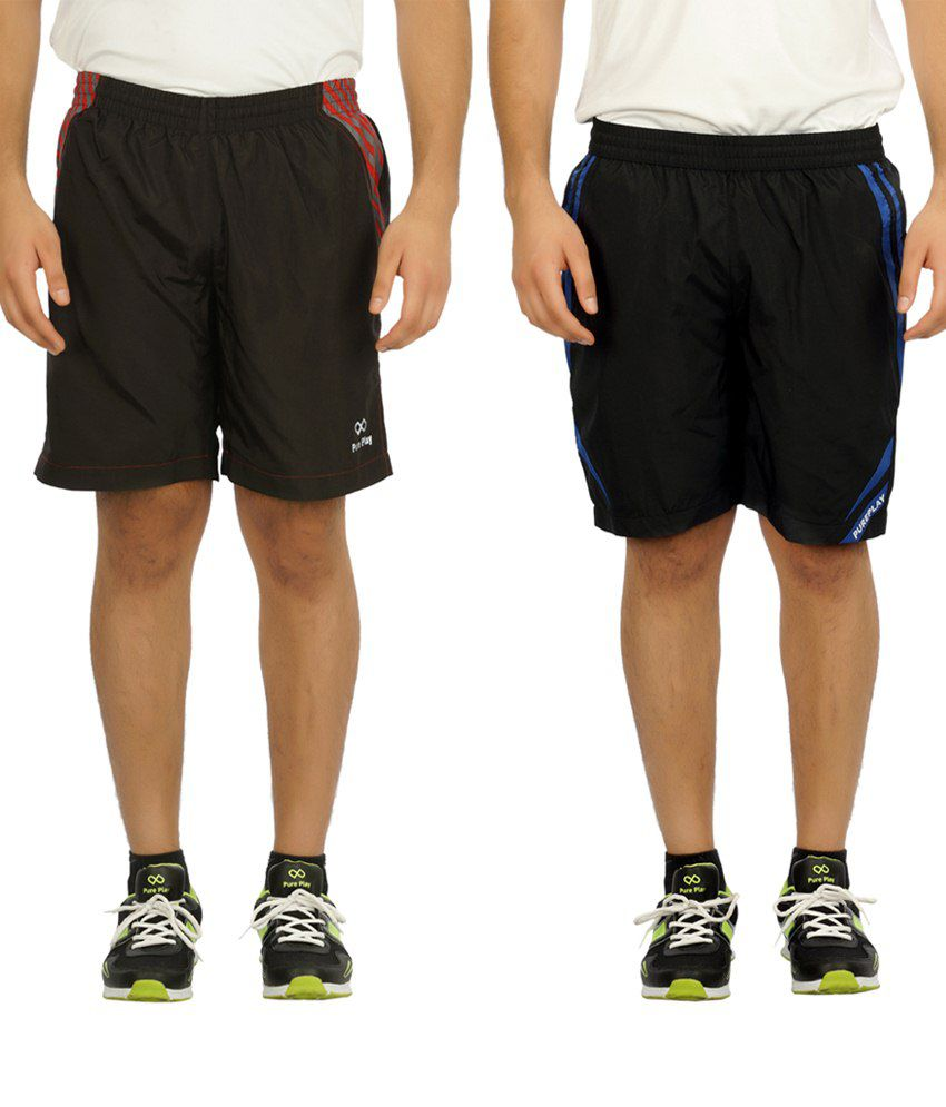 Pure Play Comfy Black Running Shorts Pack Of 2