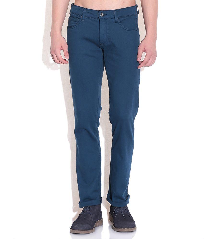 Sisley Navy Slim Fit Casual Trousers