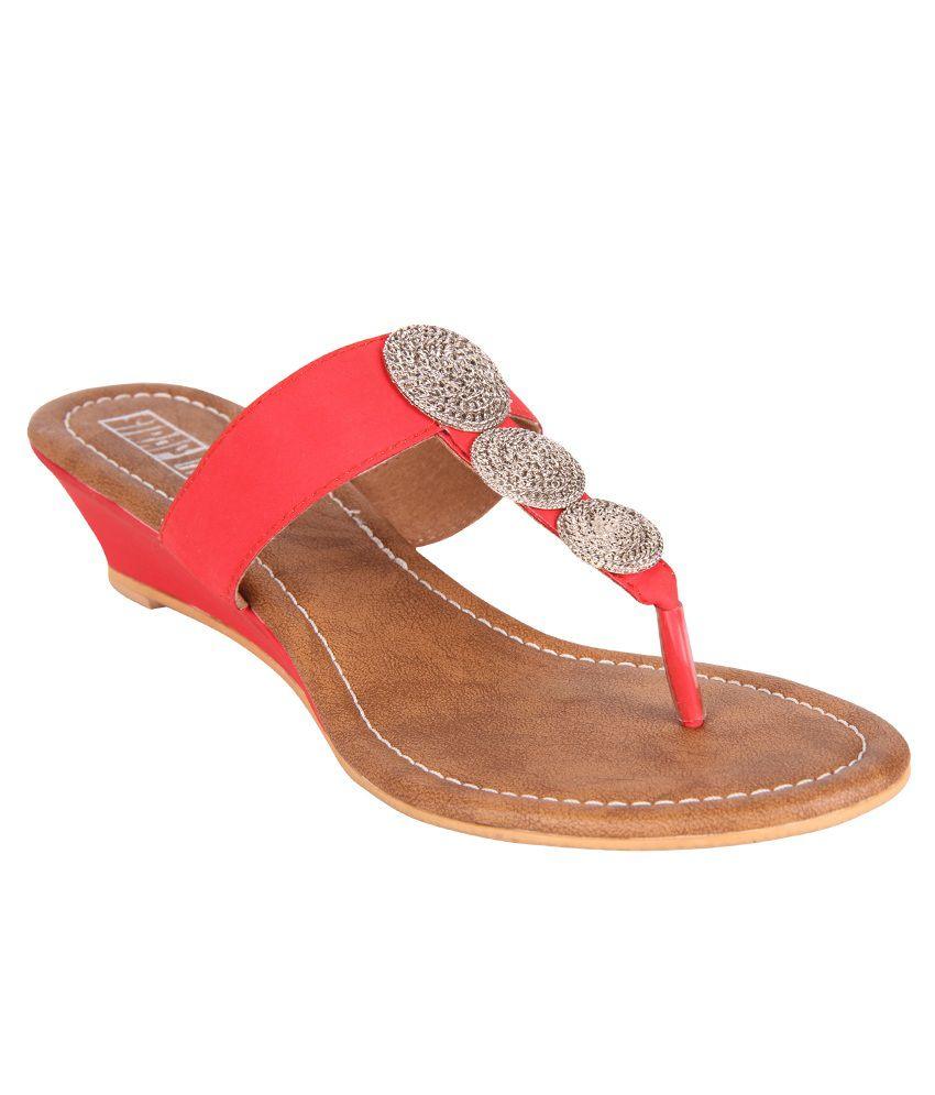 Strap Up Red Back Open Medium Heel Sandals