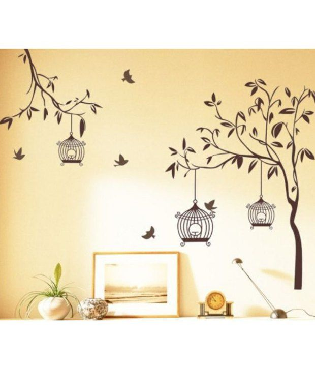 StickersKart Wall Stickers Decals Brown Tree With Birds And Cages 7127 60x90 Cms