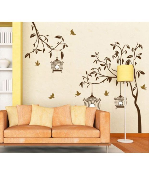 StickersKart Flowers  Trees PVC Brown Wall Stickers Buy - Wall decals india