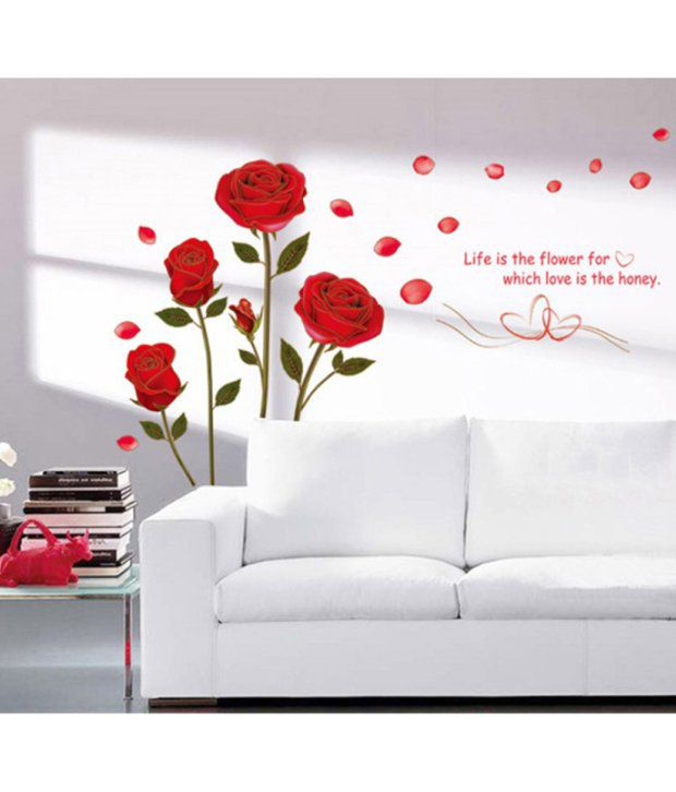 stickerskart wall stickers romantic rose flowers 6005 (50x70 cms