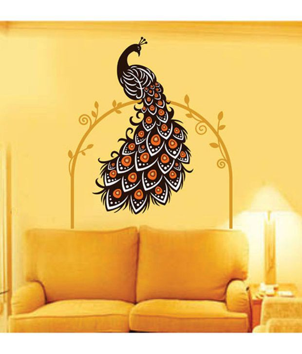 StickersKart Wall Stickers Wall Decals Beautiful Peacock on Vine - 6907 (60x90 cms) - Buy ...