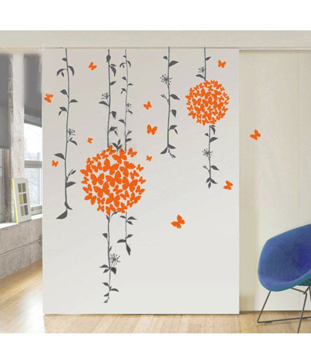 StickersKart Wall Stickers Orange Butterflies Bathroom Decal 71402 (50x70  Cms) ...