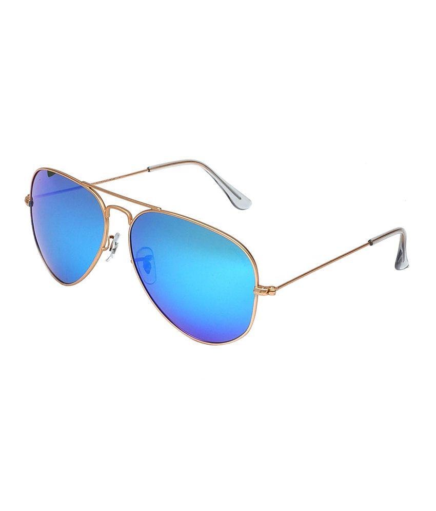 Hawai Dark Blue Mirror Lens with Golden Frame Aviator Sunglasses