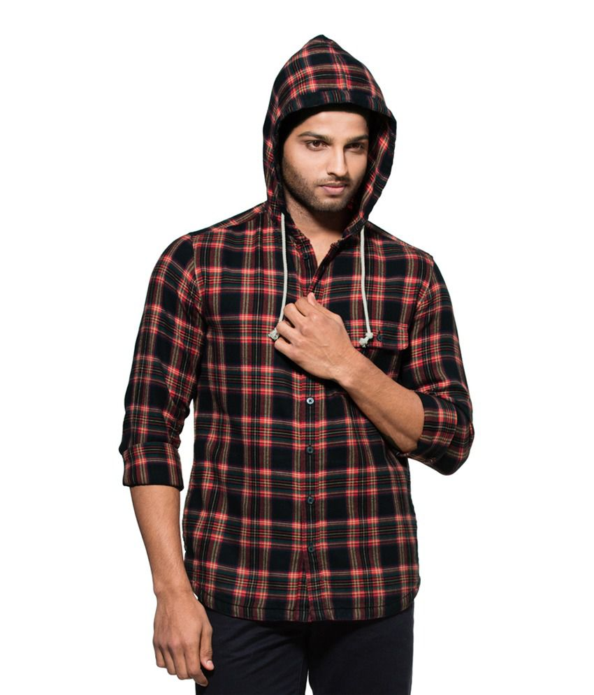 Zovi Slim Fit Casual Red & Black Check Shirt with Hood ...
