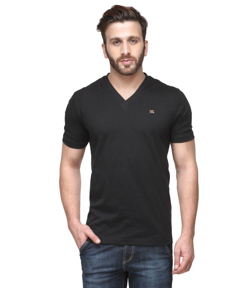 Dazzgear Black Cotton V-Neck Half Sleeve T Shirt