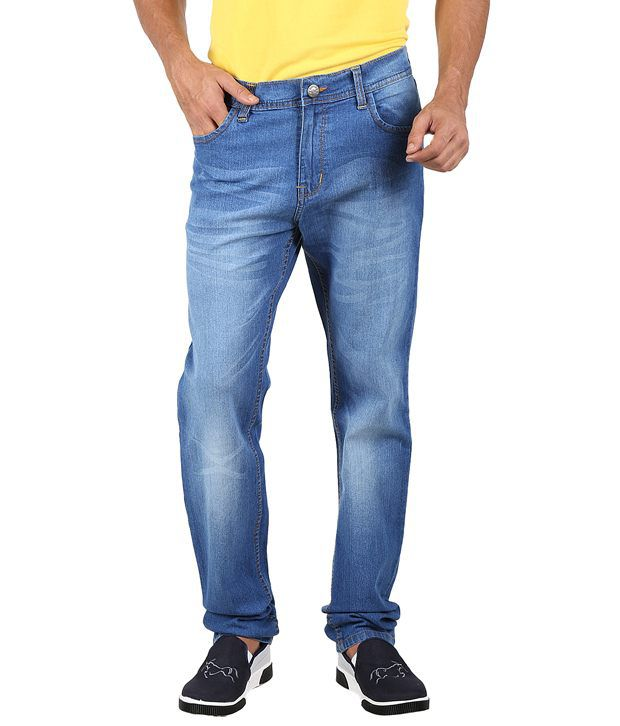 Sn'c Blue Cotton Blend Men's Jeans