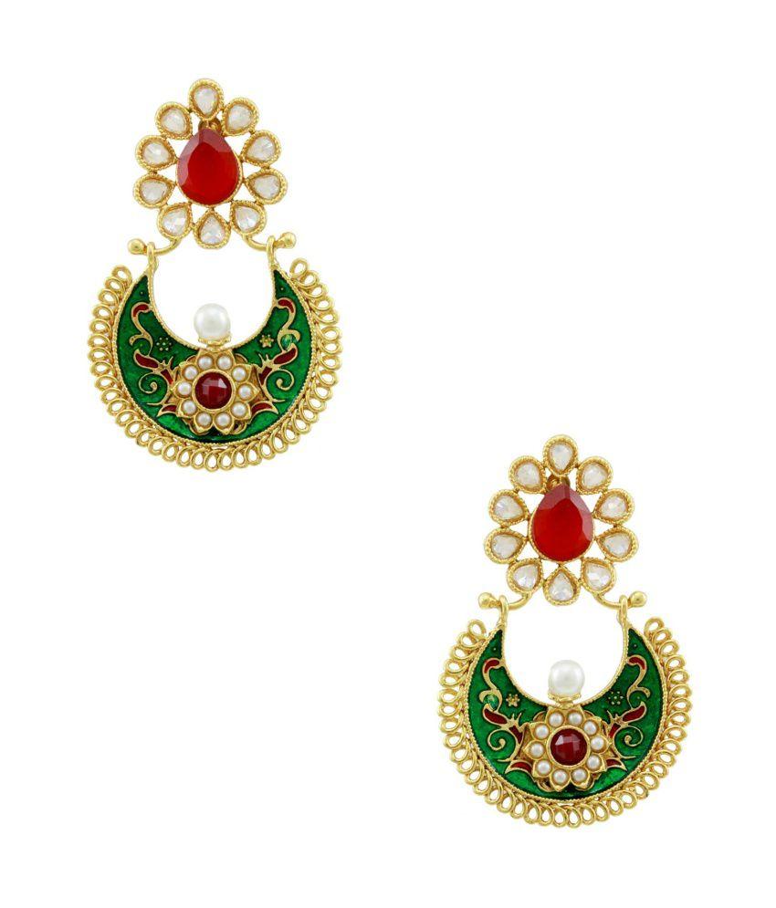 Orniza Rajwadi Chaand Baali Ruby Emerald Pearl Earrings