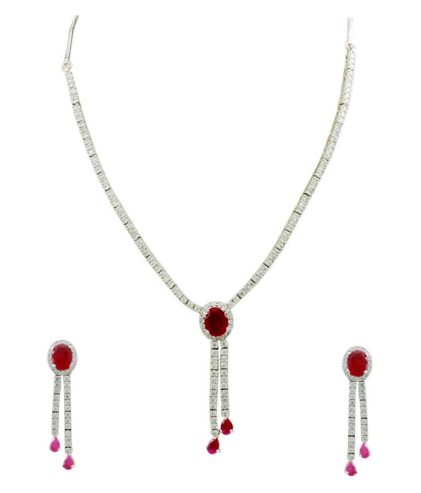 Orniza Charming CZ Ruby Necklace Set