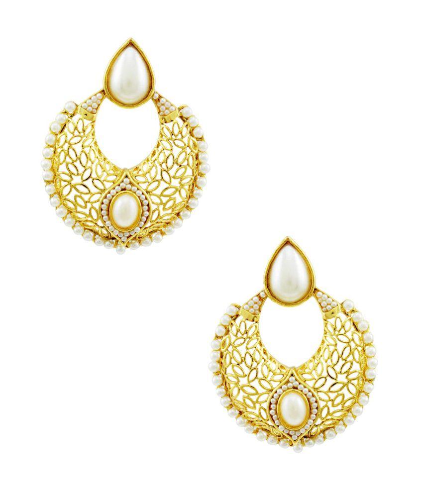 Orniza Stunning Rajwadi Pearl Chaand Baali Earring