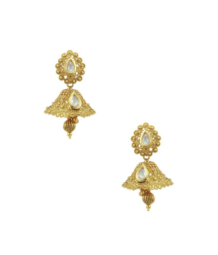 Orniza Ethnic Small Vilandi Kundan Jhumki Earrings
