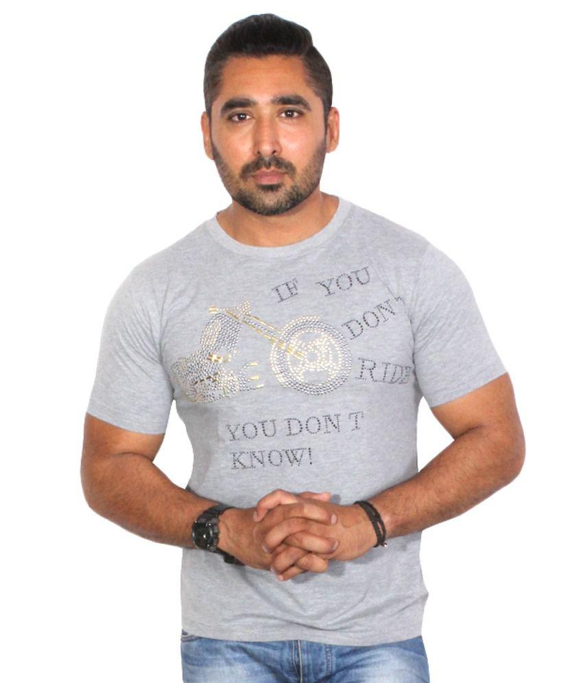 Trend Sense Gray Cotton Round Neck Half T-Shirt