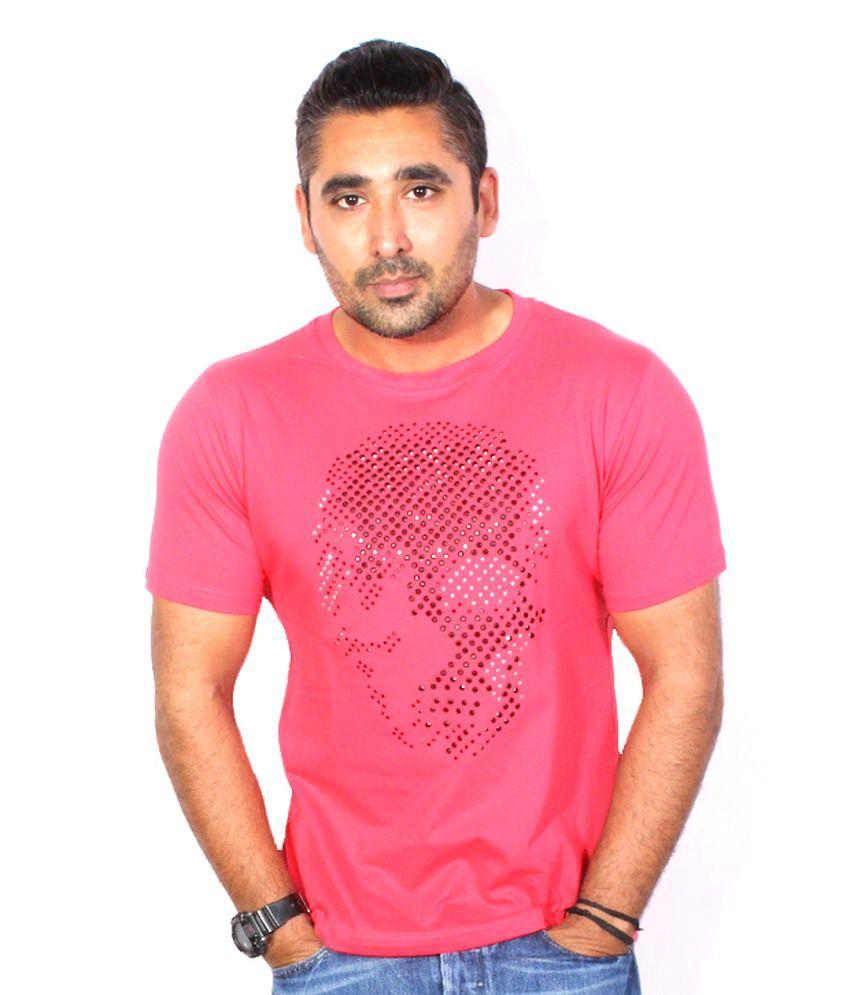 Trend Sense Pink Cotton Round Neck Half T-Shirt