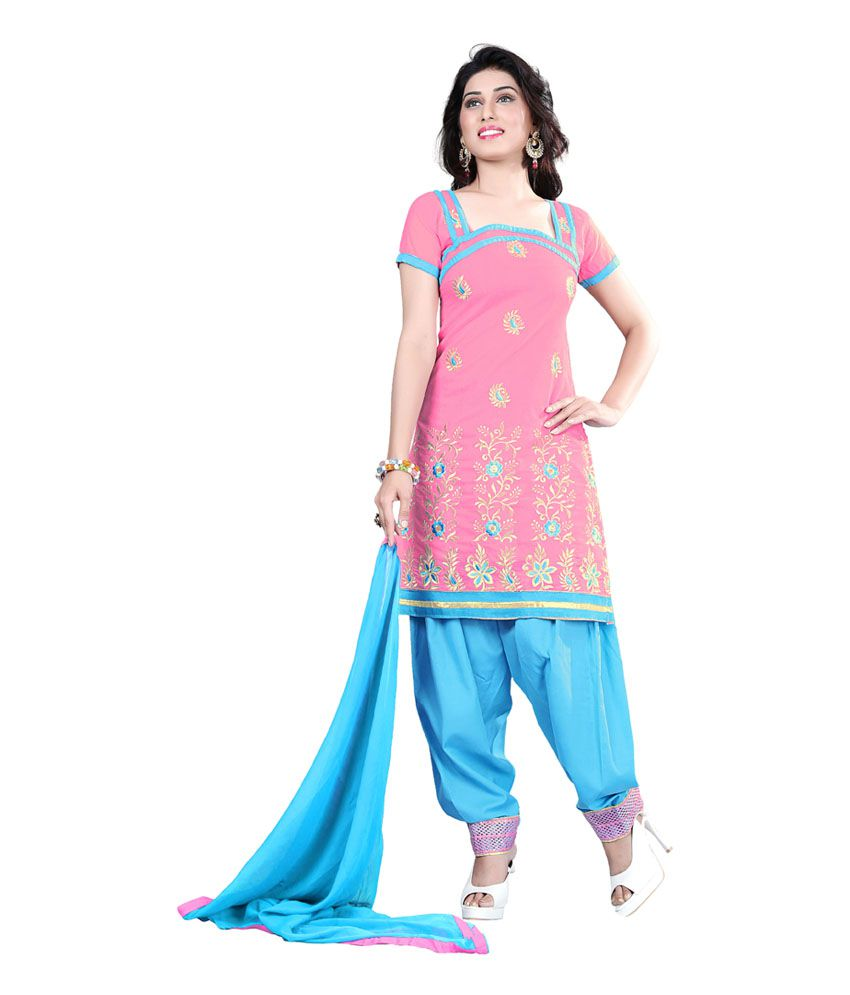 Vardhman Synthetics Pink Chanderi Unstitched Dress Material