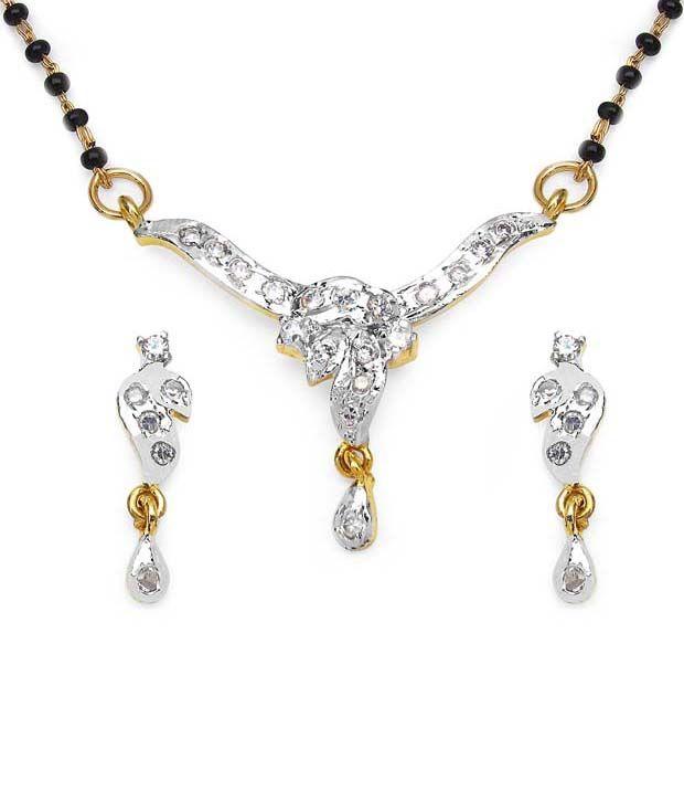 Aksh White Brass Mangalsutra Set