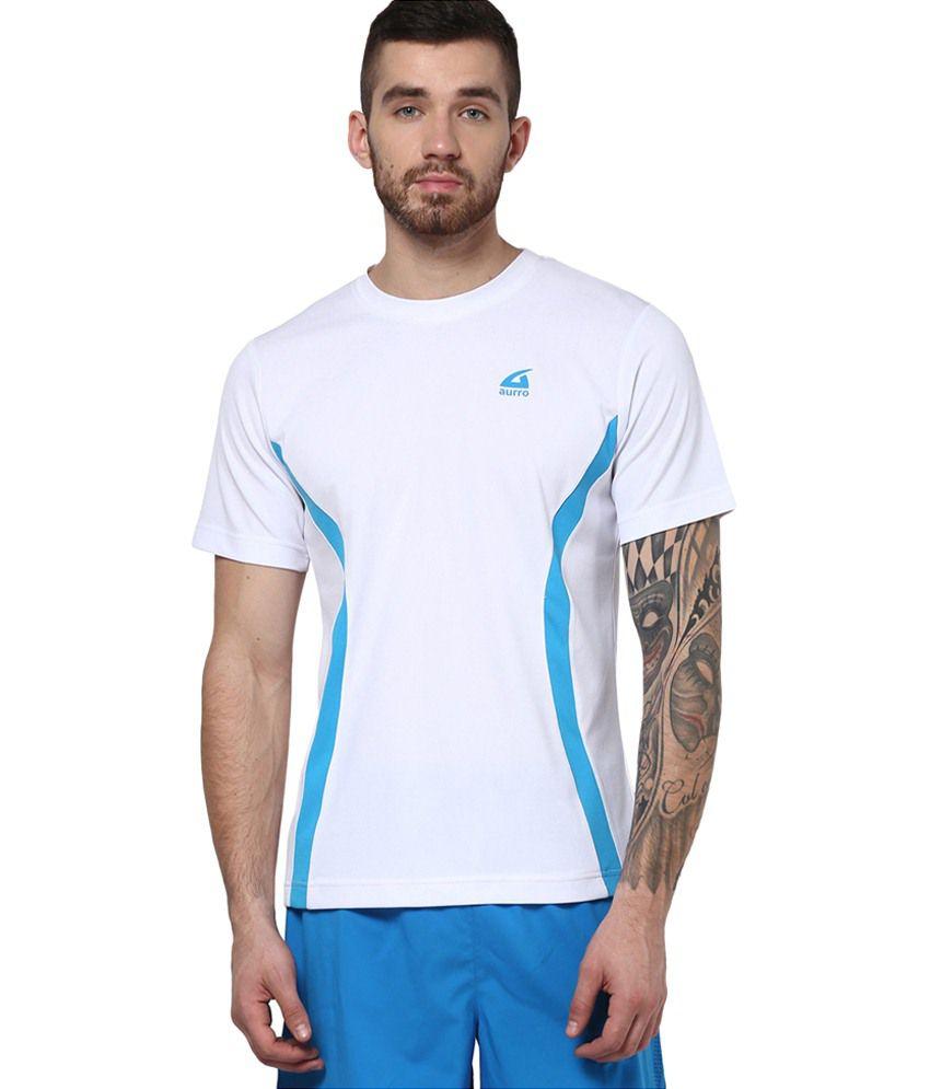 Aurro Sports White Victory Crew Neck T shirts