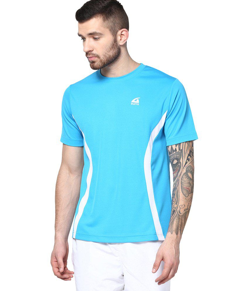 Aurro Sports Turquoise Victory Crew Neck T shirts