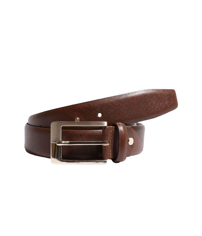 Ekvi brown Leather single Formal Textured Belt