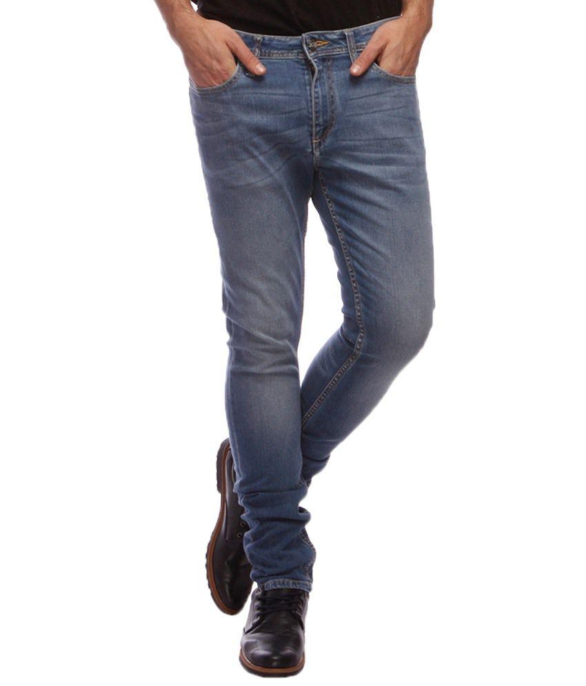 Slub Light Blue Slim Fit Jeans
