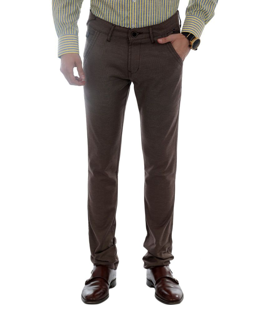 Unison Slim Fit Casual Trouser- Brown