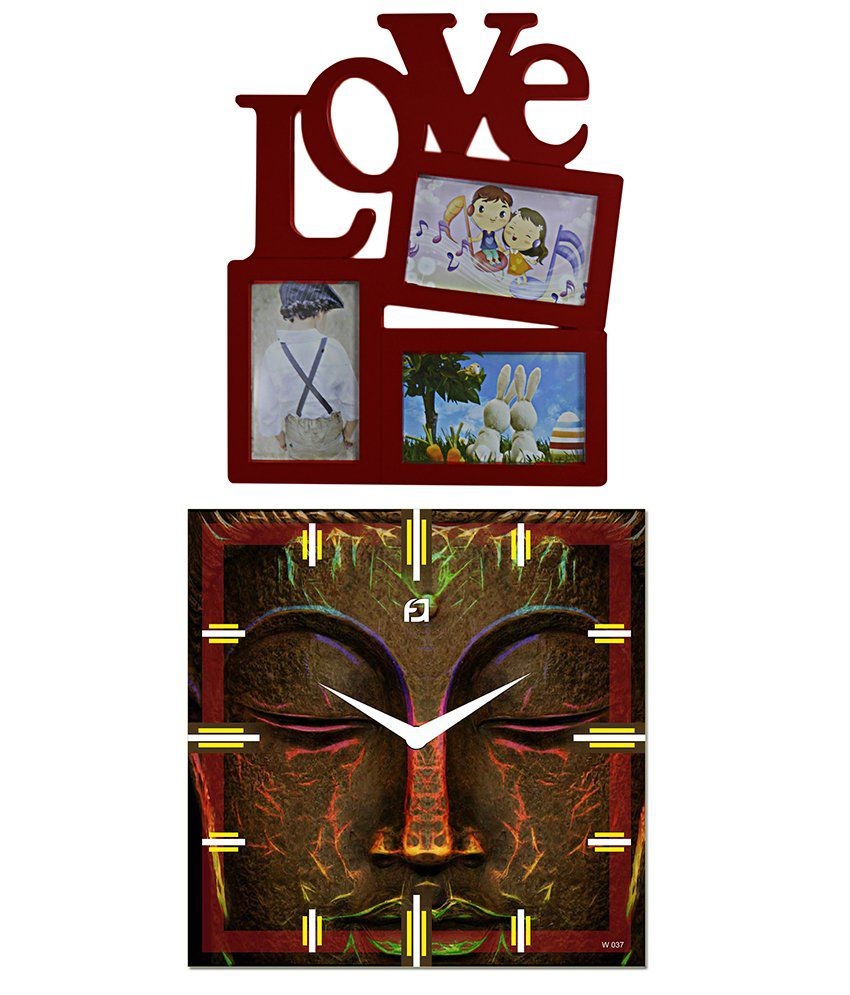 Anweshas Wall Hanging Love Photo Frame with 15 inch Big Size Designer Wall Clock  - Buddha Face
