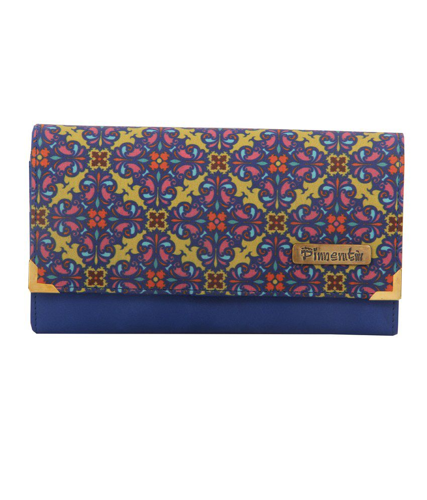 Pimento Blue Designer Exotique Print Wallet