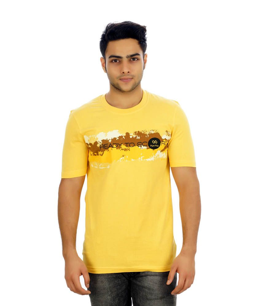 Pure Play Yellow Polyester Half Sleeve Round Neck T-Shirt