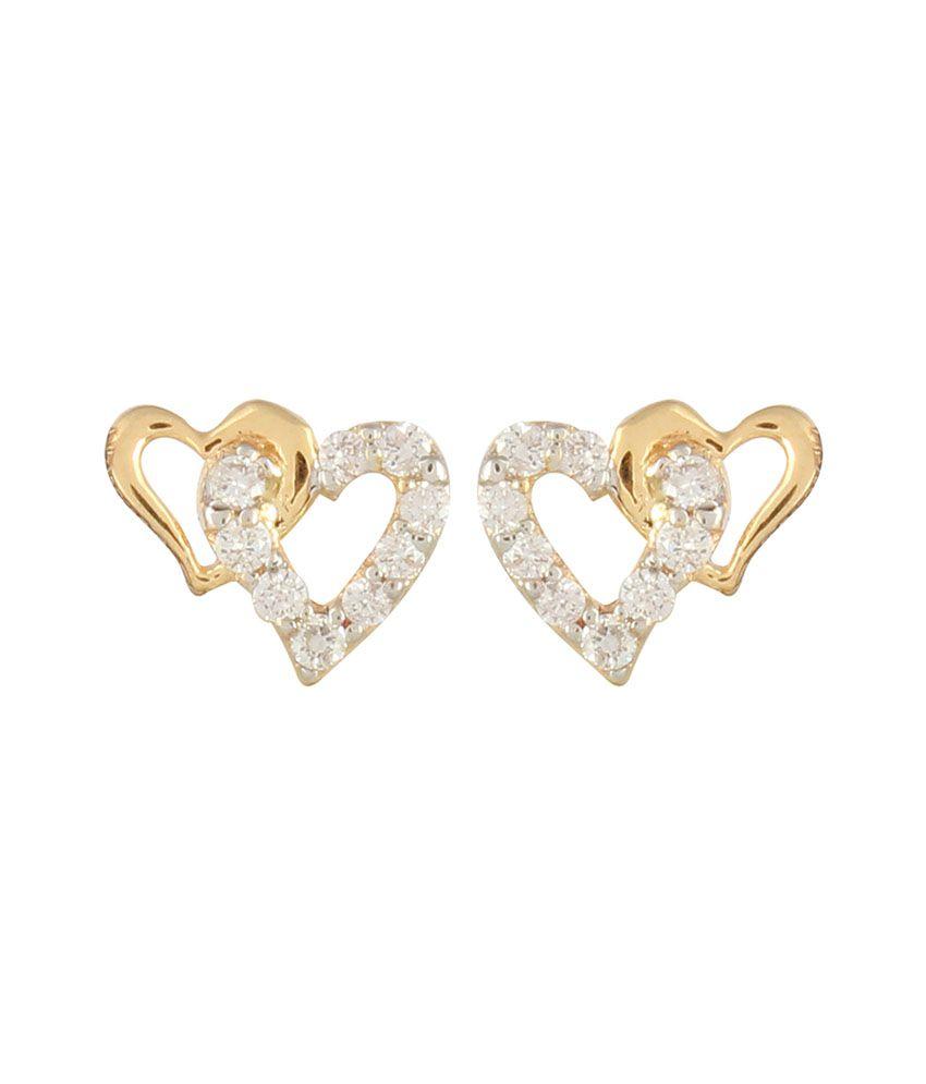 R. C. Jewellers Diamond Studded IGI Certified 14kt Gold Earrings