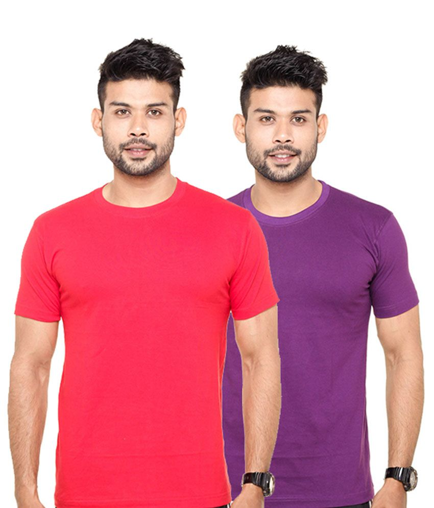 Fleximaa Red & Purple Round Neck T-Shirts (Pack of 2)