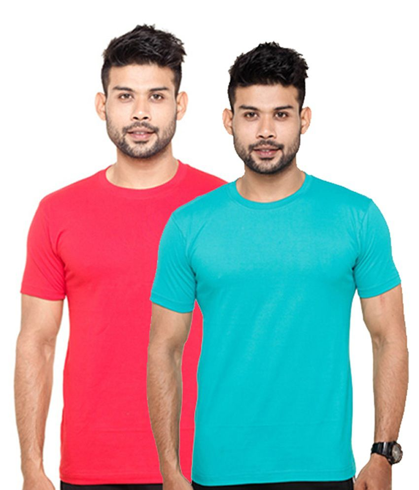 Fleximaa Round Neck T-Shirts Red & Blue (Pack of 2)