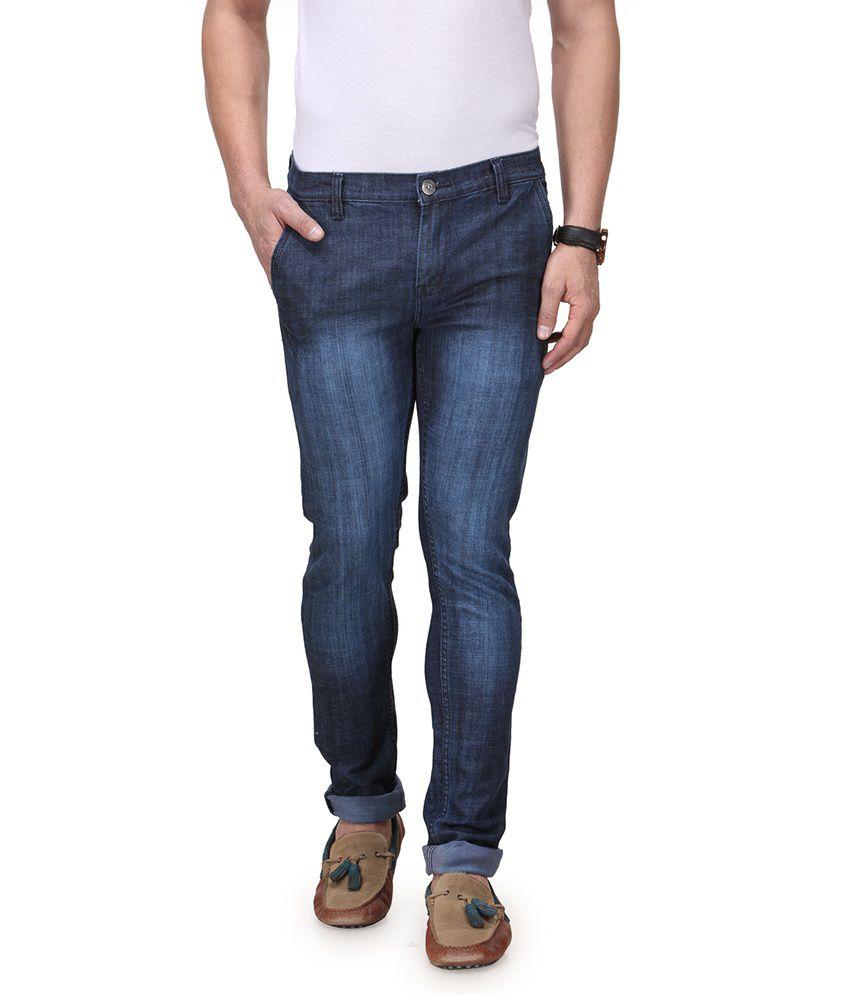 Indiana Blue Cotton Blend Slim Jeans For Men