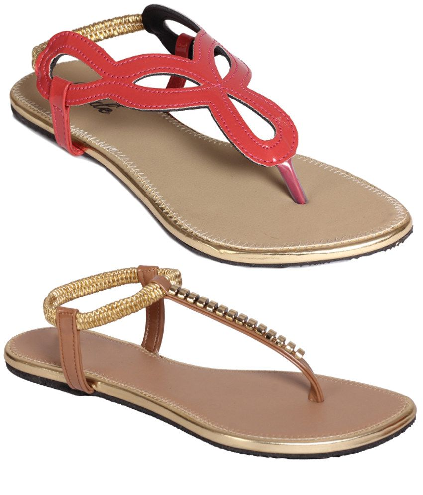 Jade Red And Brown Sandals Combo