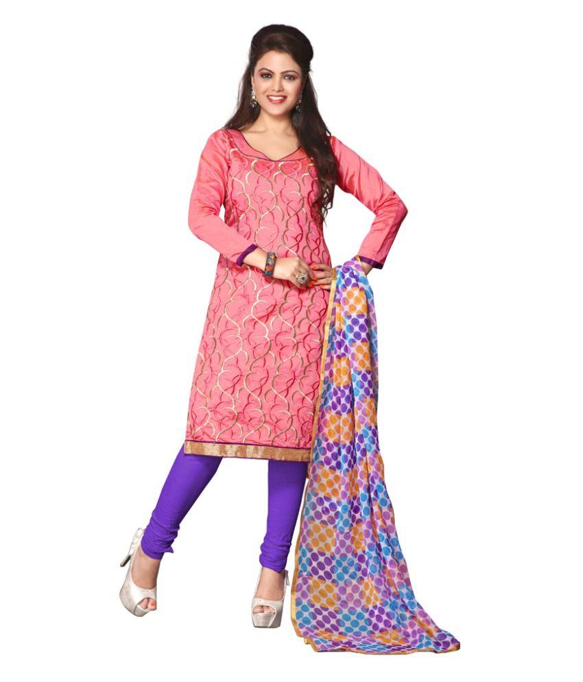 Khushali presents multi embroidered chanderi churidar