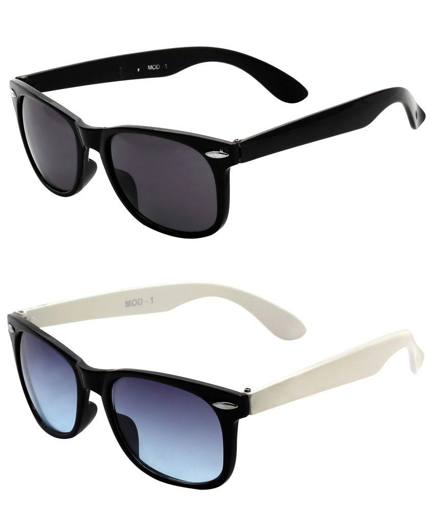 Mall 4 All Combo of White & Black Wayfarer Sunglasses