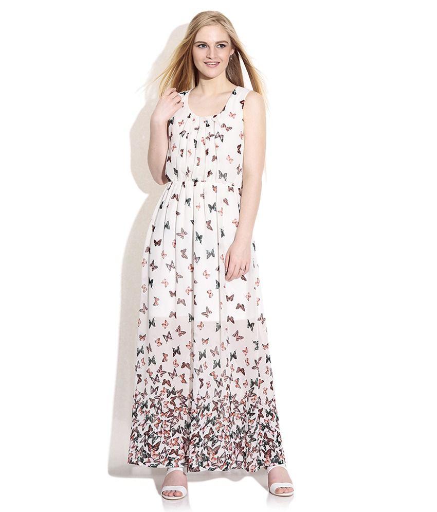 vero moda white printed maxi dress