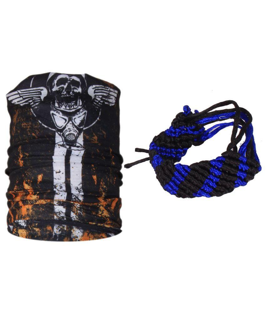 Jstarmart Black Polyester Sword Bandana And Wrist Band For Men